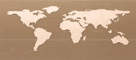 Cardboard world map  International shipping concept  photo