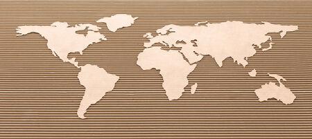 Cardboard world map  International shipping concept  photo