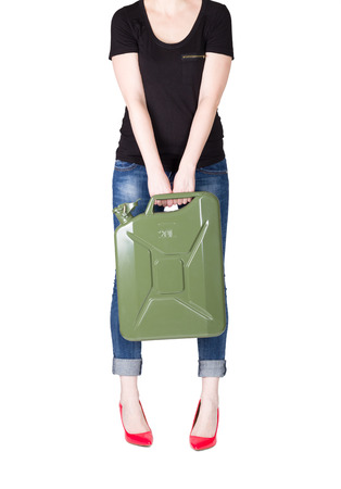 Girl with jerrycan photo