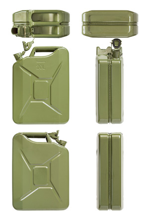 Jerrycan opened  Isolated set on white  photo