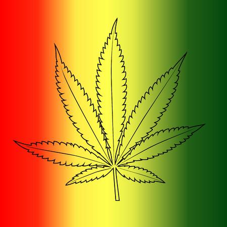 Vector cannabis leaf on Rastafarian flag background  Illustration
