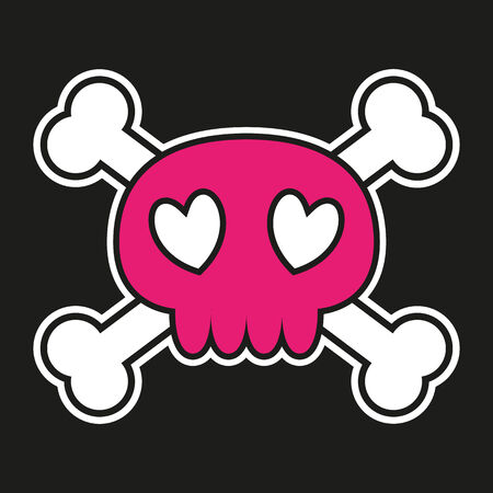 Pink skull with crossbones on black background with heart shaped eyes   Vector