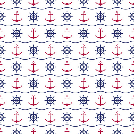 Seamless nautical background with red anchors, blue ship wheels and waves Vector