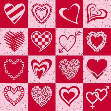 Hand drawn set of pink and red hearts for wedding or baby shower invitation, birthday card and other occasions