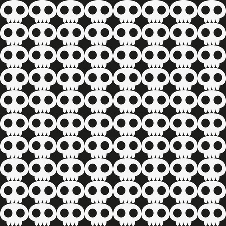 Seamless skull background in white and black   Vector