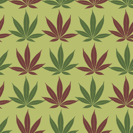 Seamless marijuana red and khaki leaves pattern Vector