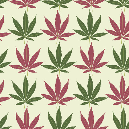 Seamless marijuana red and green leaves pattern Vector