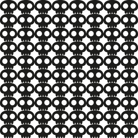 Seamless skull background in black and white   Vector