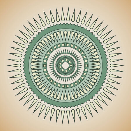 Green and beige tribal circle design  Vector Illustration Vector
