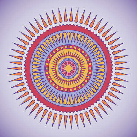 Red and violet tribal circle design   Illustration