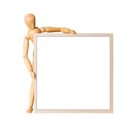 Wooden model dummy holding square cardboard frame with isolated space  Isolated on white   photo
