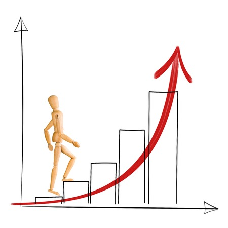 Wooden mannequin walking up chart columns  Career and business success concept  photo