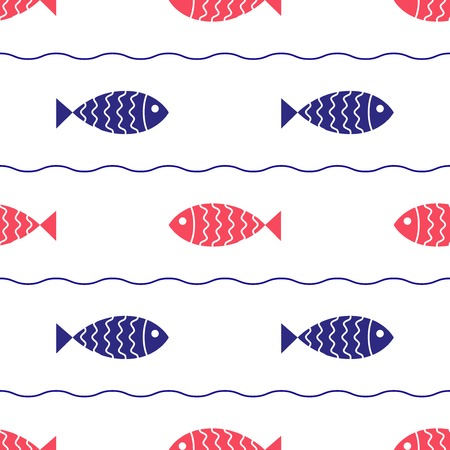 waves vector: Seamless nautical pattern with fish and waves  Vector illustration  Illustration