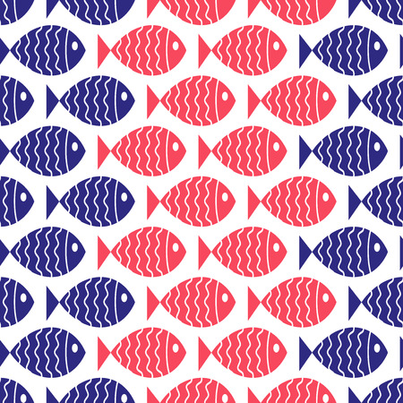 Seamless nautical pattern with fish  Vector illustration  Vector