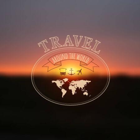 Travel label on blurred sunset background, hipster style  Vector illustration  Vector