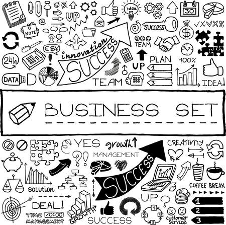Doodle bedrijf set van iconen met pijlen, diagrammen en meer
