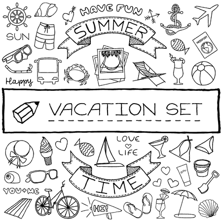 Hand drawn vacation icons set  Vector illustration  Vector