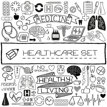 Doodle medical set of icons with medical and science tools, human organs etc  Vector