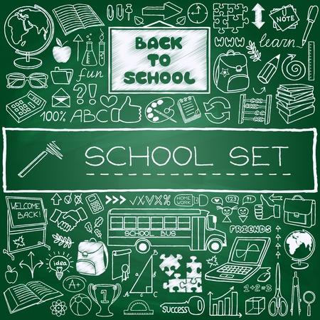 Dibujado a mano iconos de la escuela establecidos Volver al concepto de escuela