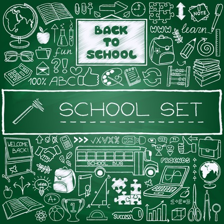 Hand drawn school icons set  Back to school concept    Vector