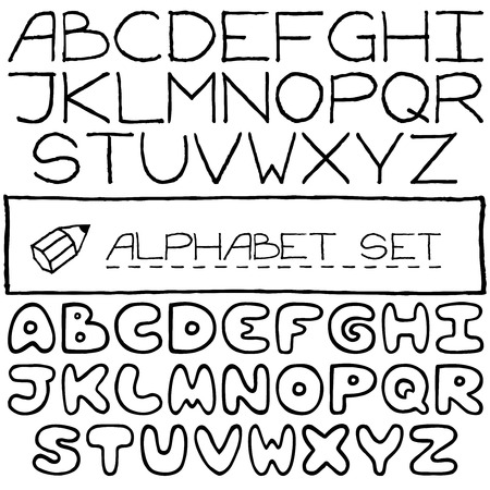 Doodle letters set of two full alphabets  Vector illustration   Vector