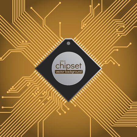 chipset: Chip-set circuit background, brown and gold colors