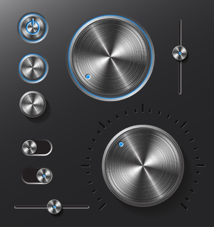 Dark metal buttons and dials with blue led light set   Vector