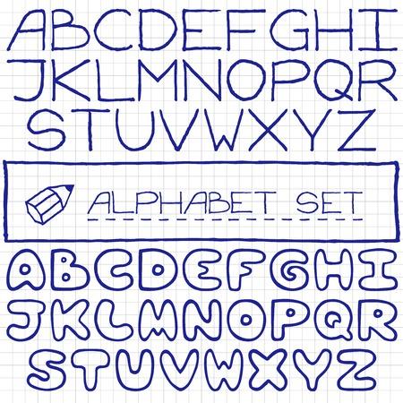 Doodle letters set of two full alphabets, pen drawn on paper effect illustration