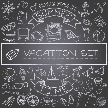 Hand drawn vacation icons set, chalk board effect  illustration  Vector