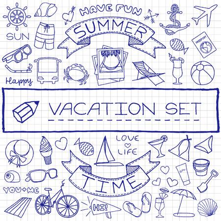 休暇アイコン セット、ペンで紙に及ぼす描いた落書き