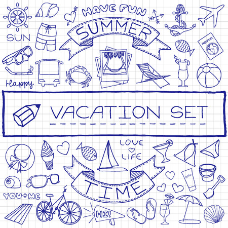 Doodle vacation icons set, pen drawn on paper effect