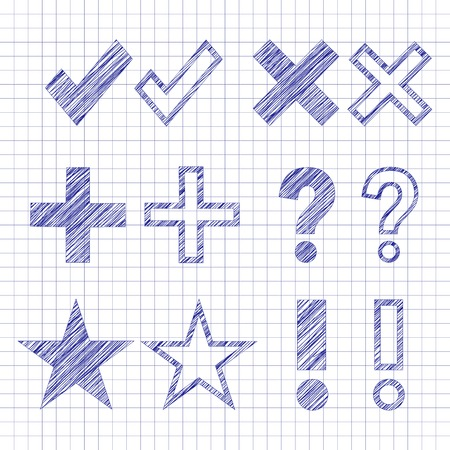 Hand drawn symbols filled with scribble lines, pen drawn effect  Vector