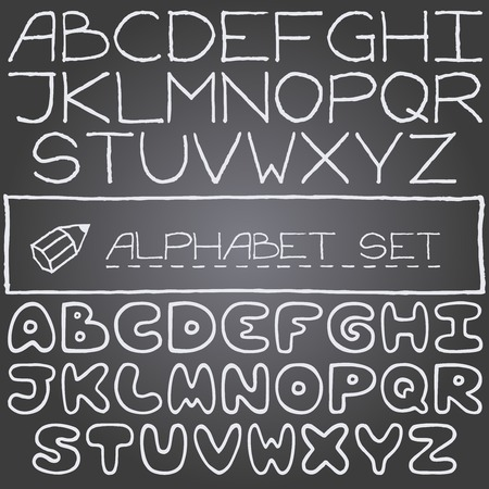 Hand drawn set on letters, 2 full alphabets  Chalk board effect  Vector