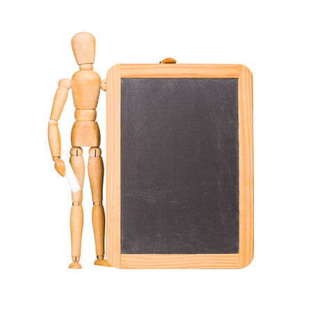 Wooden mannequin and chalkboard isolated on white photo