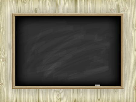 Black school board on a wooden background, with a chalk Vector