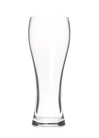 Empty tall beer glass isolated on white photo