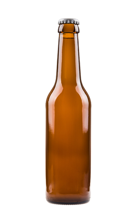 Beer bottle  Generic brown bottle, sealed and filled with beer  Stock Photo