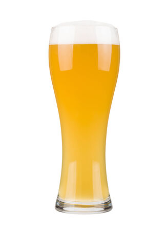 pewter mug: Glass filled with white beer, isolated on white