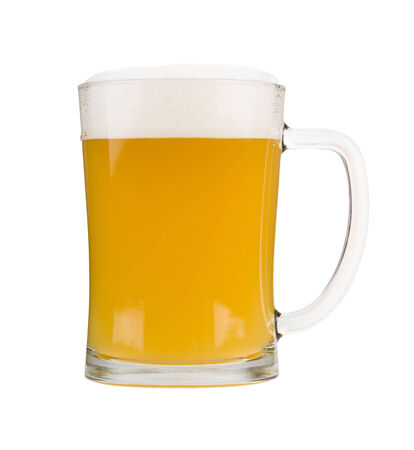 pewter mug: Mug filled with white beer, isolated on white Stock Photo