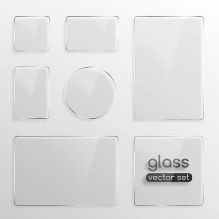Glass plates set, square, rectangle and round  Realistic vector illustration Çizim