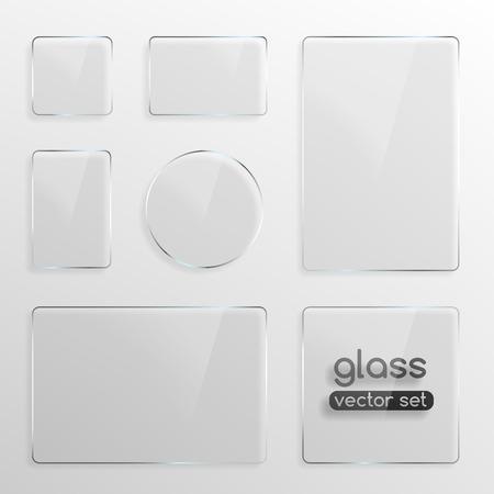 objetos cuadrados: Las placas de vidrio establecido, cuadrado, rect�ngulo y la ilustraci�n vectorial ronda Realista
