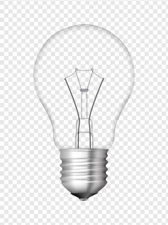Light bulb, transparent bulb design  Realistic vector illustration