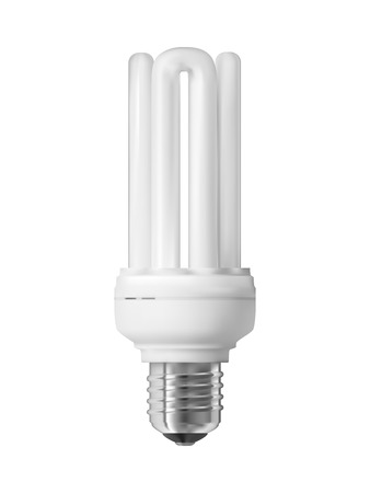 Energy saving light bulb, isolated on white  Realistic vector illustration   Vector