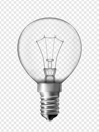 Light bulb for bedside lamp, transparent bulb design  Realistic vector illustration