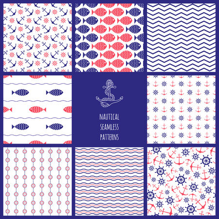 Set of seamless nautical patterns with fish, anchors, ship wheels, waves and chevron  Vector illustration