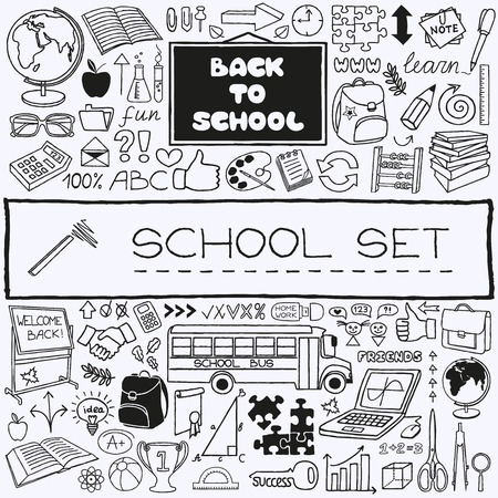 Hand drawn school icons set  Back to school concept  Vector Illustration