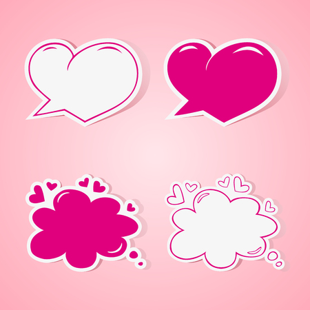 Heart shaped speech bubbles set - elements for wedding or baby shower invitation, scrapbooking etc. Vector illustration Vector