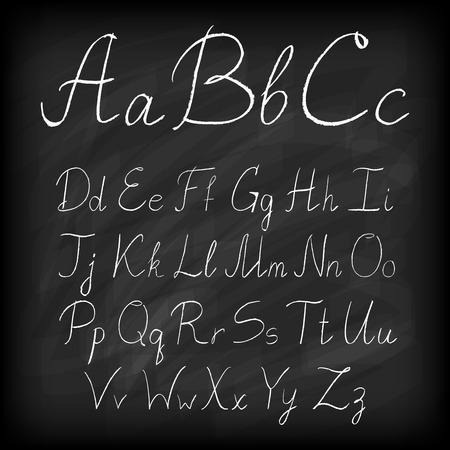 Chalk board hand drawn alphabet. Vector illustration. Vector
