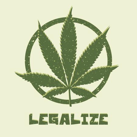 グランジ スタイルのマリファナの葉。医療大麻を合法化します。ベクトル イラスト。