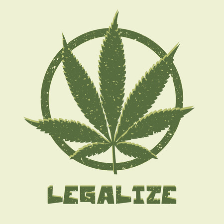 Grunge style marijuana leaf. Legalize medical cannabis. Vector illustration.